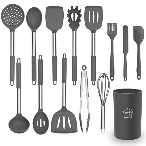 Silicone Cooking Utensil Set, AILUKI Kitchen Utensils 14 Pcs Cooking Utensils Set,Non-stick Heat Resistant Silicone,Cookware with Stainless Steel Handle - Grey