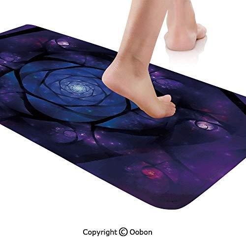 Rug Runner,Mystical Psychedelic Asian Universe Symbol in Space Motif Art Print Decorative,Plush Door Carpet Floor Kitchen Decor Mat with Non Slip Backing,48 X 17.7 Inches,Dark Purple Blue