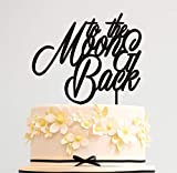 HappyPlywood To the Moon and Back Wedding Cake Topper Birthday Anniversary cake toppers for wedding cake décor Gold Silver Black White Mirror (gold mirror)