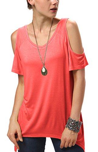 Urban CoCo Women's Vogue Shoulder Off Wide Hem Design Top Shirt - Large - - Cut Coral Out