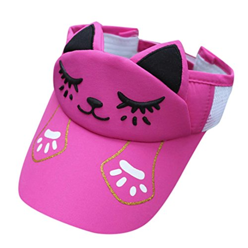 Caopixx Children Cap, 2018 Boys Girls Adjustable Embroidery Cat Cap Breathable Hat Visor Hats Baseball Caps (Hot Pink) -