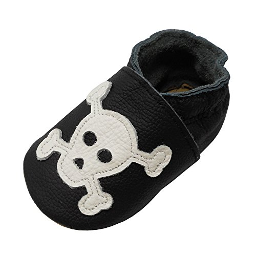 YIHAKIDS Soft Sole Baby Shoes Toddler Leather Moccasins Lovely Cartoon Skull Baby Slippers Multi-Colors (6-6.5 US/6-12 Mo./5.1in, Black) ()