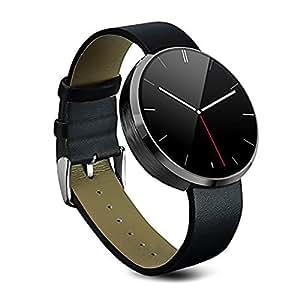Stoga ST-DM360 Inteligente Reloj Bluetooth Impermeable Wirst Monitor de Ritmo Cardíaco Mini Agujero de Alfiler Dial de Control de Voz Movimientos Dedo para Samsung HTC Android y IOS Smartwatch-Negro