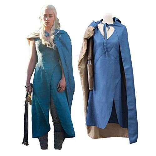 COSAUG Khaleesi Costume Daenerys Targaryen Blue Dress Cosplay Costume(S)