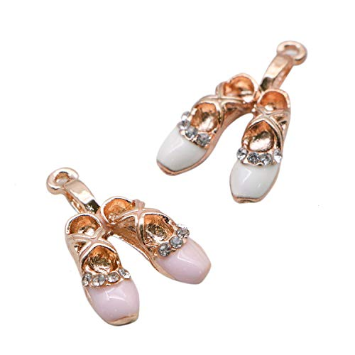 JETEHO 20 Pcs Pink and White Enamel Ballet Shoes Charms Pendant for Jewelry Making Bracelet Necklace -