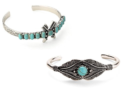 Native American Inspired Cuff Bangle 2 Pack, Resin Turquoise, Navajo Look with Arrows & Leaf
