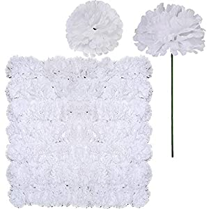 Supla 100 Pack Artificial Carnation Flowers Picks Bulk White Carnations Stems Silk Carnation Flower Heads with Wired Stems 3.5″ x 7.9″ (WXH) Floral Arrangement DIY Wreaths