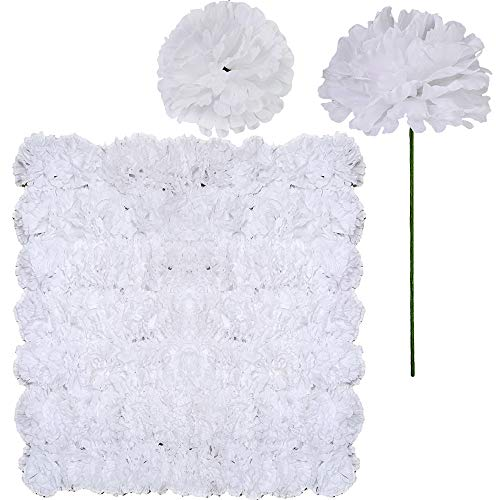 Supla 100 Pack Artificial Carnation Flowers Picks Bulk White Carnations Stems Silk Carnation Flower Heads with Wired Stems 3.5 x 7.9 (WXH) Floral Arrangement DIY Wreaths