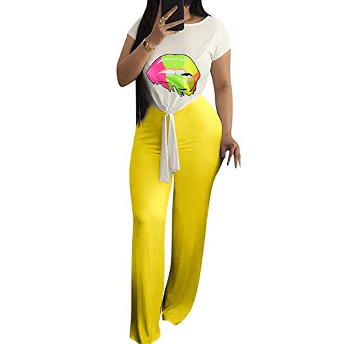 Desirepath Women Two Piece Outfits Sets Tie Knot Front Short Sleeve Printed Top Long Pants Sets Yellow ()