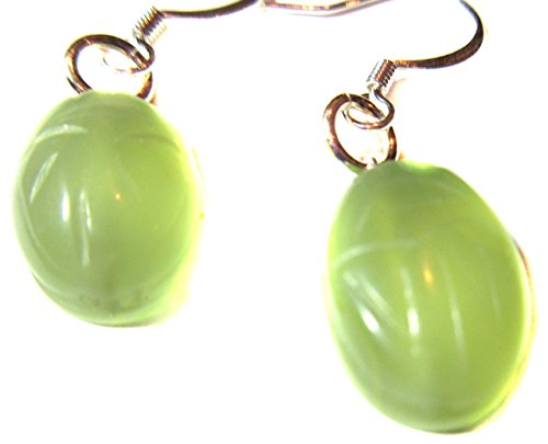 (Earrings Carved Gemstone Scarab .925 Sterling Silver Coil And Ball French Ear Wires 1.25 Inch Drop Celadon Green)
