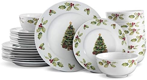 Dinnerware Set 12 Days of Christmas Glazed Porcelain Pack of 12 Piece Holiday