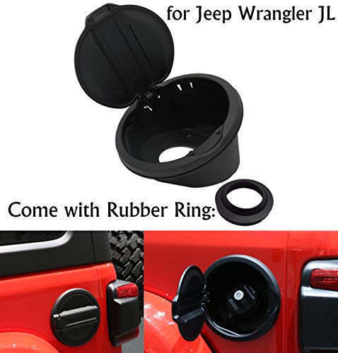 Heavy Duty Aluminum Fuel Filler Door Cover Gas Cap Exterior Accessories with Rubber Ring for 2018-2019 Jeep Wrangler JL Unlimited