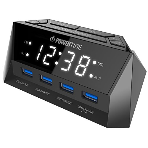 Beare Alarm Clock Charging Station – w/ QUAD USB Port for iPhone/iPad/iPod/Android Phone and Tablets