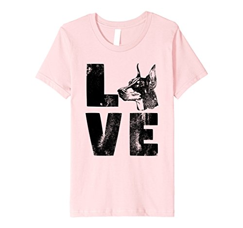 Price comparison product image Kids Distressed Puppy Dog Face Lovers Doberman Love Tee Shirt 10 Pink