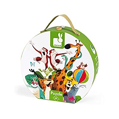 Janod 39 Piece Giant Animal Pyramid Floor Puzzle Toy – Mini Suitcase Styled Hat Box for Organized Storage – Store Everything Inside & Transport Wherever You Go – Cognitive Development – Ages 4-7: Toys & Games
