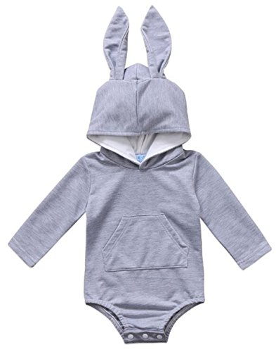 Cute Baby Rabbit - Infant Baby Girls Boys Cute Rabbit Ears Hooded Romper Long Sleeve Bodysuit Outfits Size 3-6 Months/Tag70 (Gray)