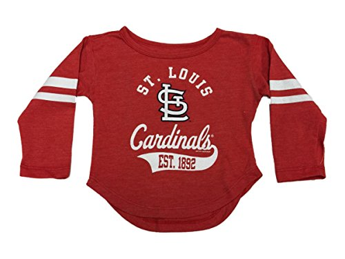 St. Louis Cardinals SAAG TODDLER Girl's Red Long Sleeve Jersey T-Shirt - Louis Long Cardinals Sleeve