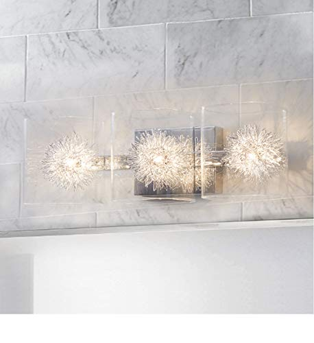 Glass Vanity Light,Bathroom Light Fixtures,Wall Sconce Lighting,Polished Chrome Finish,Bathroom Lighting Over Mirror