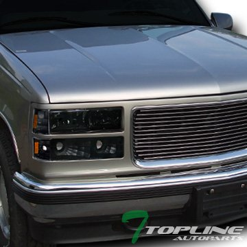 Topline Autopart Smoke Head Lights Dy+Signal Bumper Black Yd W/Corner Am K2 94-00 Gmc C10 Truck/Suv