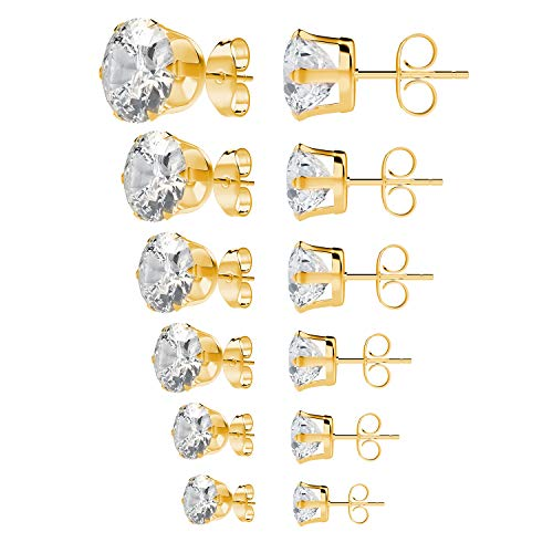 (UHIBROS Stainless Steel Stud Earrings Set Hypoallergenic Pierced Cubic Zirconia Gold 6 Pairs 3-8mm (Gold))