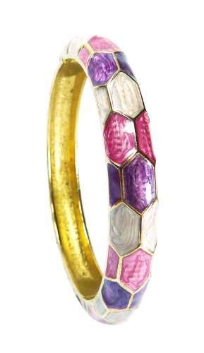 Enamel Hinged Cuff (BDJ Gold Tone Purple Beehive Design Enamel Hinged Cuff Bangle Bracelet (Bsuri)