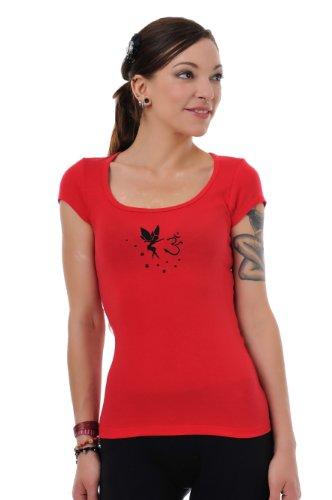 camisa de mujer con Rojo de 3elfen Verano corta Yoga cuello camisa Om Negro hadas prenda Top de manga Goa redondo xYxtXPq