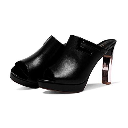Sandals CJC High-Heeled Open Toe High Heels Thin High Heels Elegant Sexy Fashion Waterproof Platform Black HFhTg4tZM