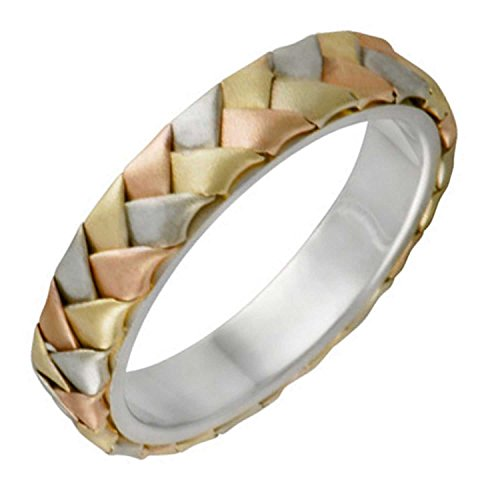14K Tri Color Gold Braided Basket Weave Women's Comfort Fit Wedding Band (5mm) Size-6c1