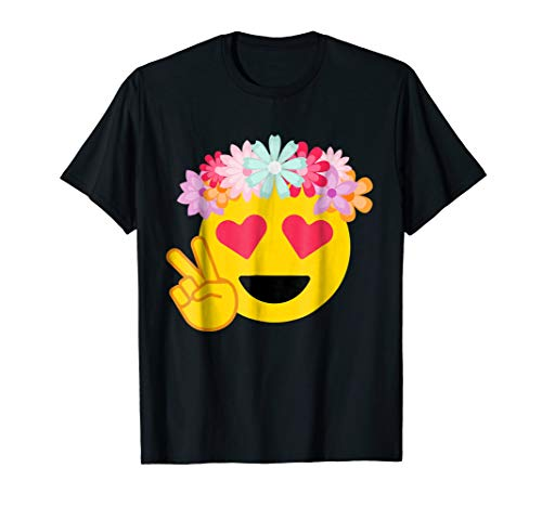 Hippy Peace Heart Eyes Emoji Flower Crown T Shirt Costume -