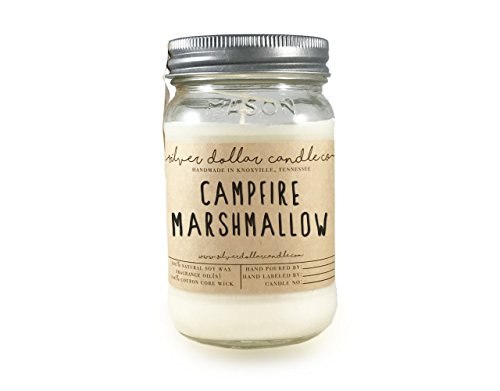 16oz Campfire Marshmallow Mason Jar Scented Soy Candle | The Essentials Collection | Natural Eco-Friendly Hand-Poured Soy Wax by Silver Dollar Candle Co. ()