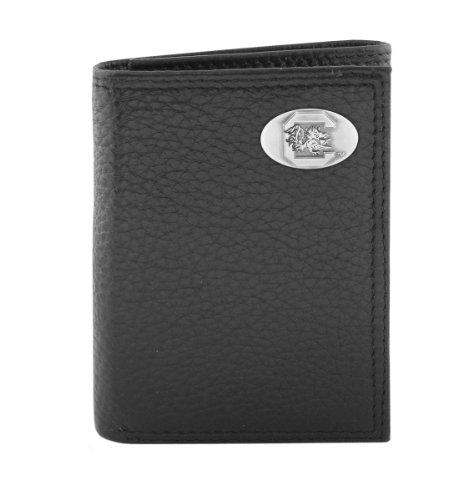 South Carolina Black Leather - NCAA South Carolina Fighting Gamecocks Black Pebble Grain Leather Trifold Concho Wallet, One Size