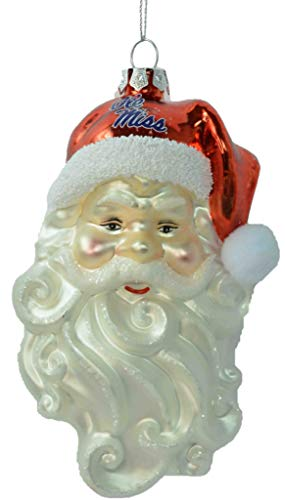 Glass Mascot Football Ornament - Ole Miss Rebels Santa Claus Glass Hanging Ornament