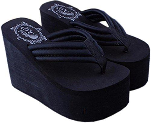 Bettyhome Women Sexy Club Party Super High Heels 4.33 Inch Comfortable Thongs Casual Wedges Sandals Beach Flip Flops Slippers (6 B(M) US=EUR 37, black) - Paillette High Heel