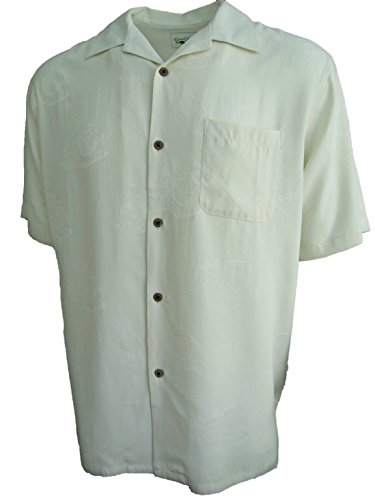 Good Life Mens Silk Camp Shirt Ivory Motorcycle Print Jacquard Casual (XXL)