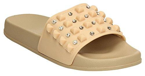 SWANKYSWANS Schuhe Beige on Flache Slip Slides Womens Stud Sandalen Rock Bohemian Yeni Sommer qPz46zw