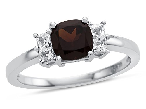 Finejewelers 6x6mm Cushion Garnet and White Topaz Ring 10 kt White Gold Size 7 ()