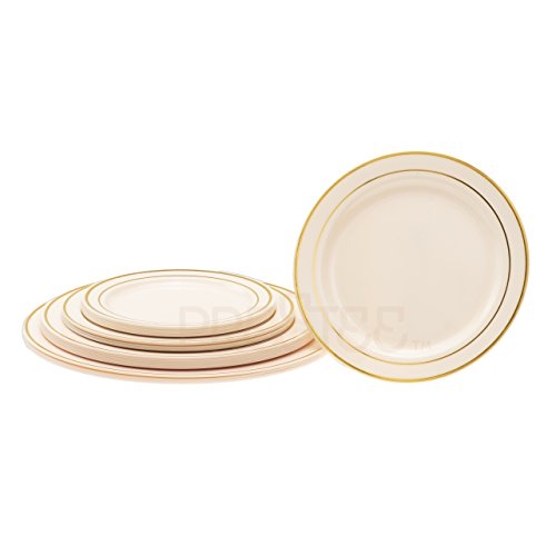 DELUXE PLASTIC PARTY DISPOSABLE PLATES | 7.5 Inch Hard Wedding Appetizer Plates | Ivory with Gold Rim, 40 Pack | Elegant & Fancy Heavy Duty Party Supplies Plates for all Holidays & Occasions
