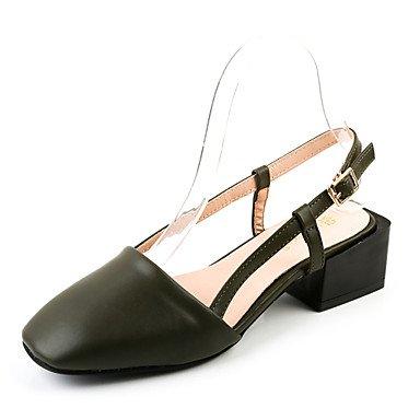 Sandalias Verano Zapatos Club Polipiel Oficina & Carrera visten casual hebilla talón plano caminando Army Green