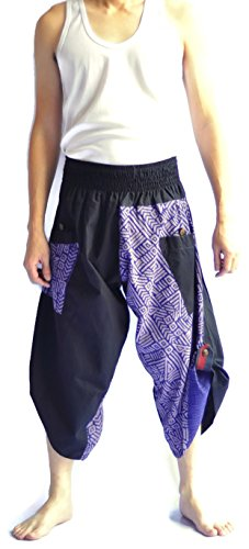 Siam Trendy Men's Japanese Style Pants One Size Black and Blue Tradition Stone by Siam Trendy