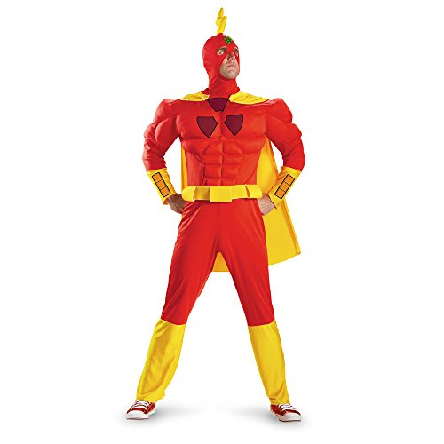 Disguise The Simpsons Radioactive Man Classic Muscle Mens Adult Costume, Red/Yellow, X-Large/42-46 -