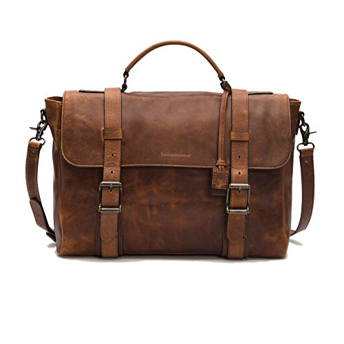 FRYE Men's Logan Antique Pull Up Flap Briefcase, Cognac, One Size by FRYE