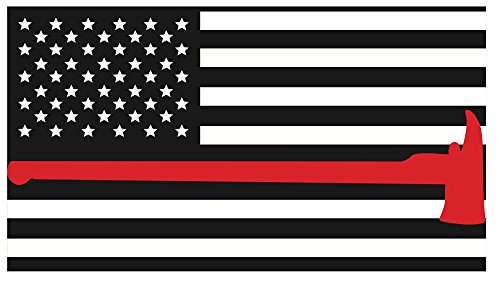 K9King Fire Department Red Line Axe Flags 3M Vinyl Reflective Decal, Black, White & Red Flag Sticker Honoring The Courage of Our Firefighters, EMT & Paramedics