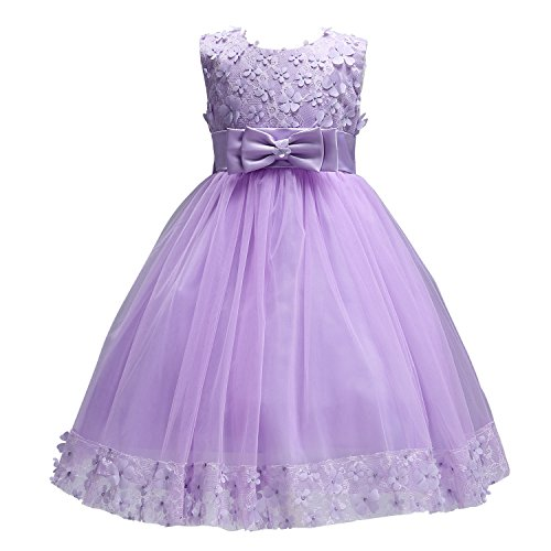 Acecharming Baby Girl Flower Lace Hemline Wedding Party Ball Gown Dress(2-10 Years Old) Lavender ()