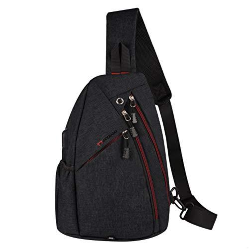 Black Sports Men Mens 1 Sling Backpack Breathable Lightweight Chest Bag Leather Tactical Shoulder Bags Packs Day Pack Daypack Cross Body Crossbody for Women Men Teens Waterproof Hiking Travel Bag USB