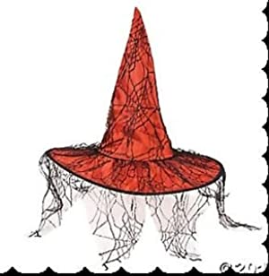 FE-OTC Halloween Decor - Red Witch's Hat Black Spider Lace #13740784