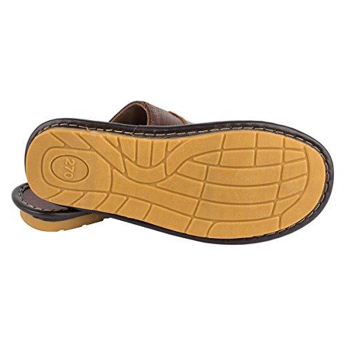 Pantofole In Pelle Da Uomo Estate Haisum, Sandali Infradito Elastici Antiscivolo Primavera, Per Casa Kaki (8808)