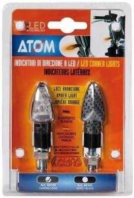 Compatible avec Yamaha FZ8 800 ABS Paire de Clignotants /à LED 12 V Carbone Look homologu/é pour Moto Lampe 90100 Atom Lumi/ère Orange Indicateur de Direction