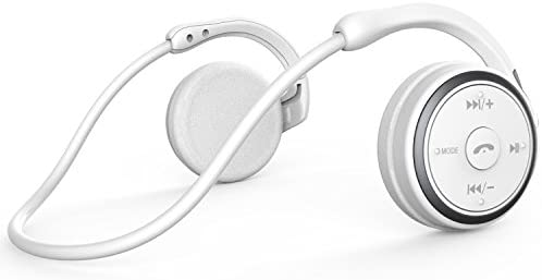 Small Bluetooth Headphones Behind The Head, Sports Wireless Headset with Built in Microphone and Crystal-Clear Sound, Fold-able and Carried in The Purse, 12-Hour Battery Life, White