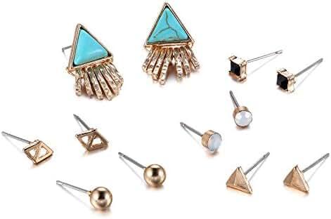 eManco Turquoise Crystal Stud Earrings Set Geometric Tassel Triangle Earrings Trending Jewelry (6 Pairs)