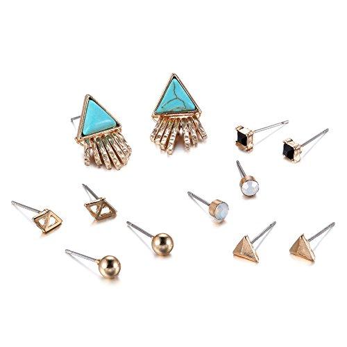 [eManco Turquoise Crystal Stud Earrings Set Geometric Tassel Triangle Earrings Trending Jewelry (6] (Simple 3 People Costumes)